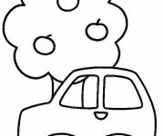 Coloring pages Tree and Child Car