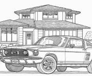 Coloring pages Car behind a house