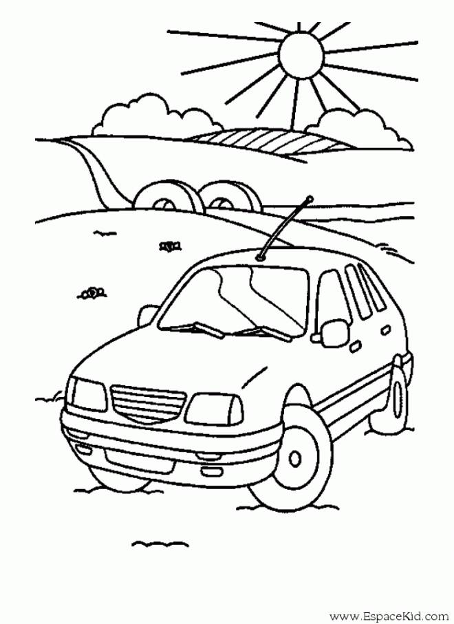 Free coloring and drawings Car Landscape in Nature Coloring page