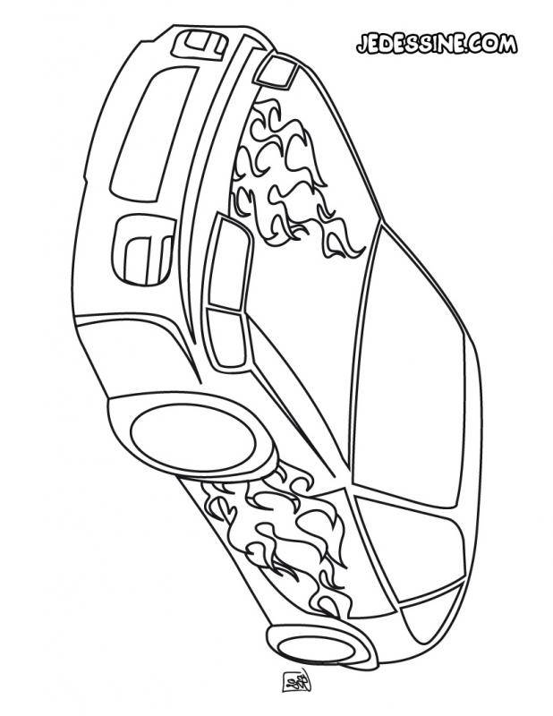 Free coloring and drawings Car Tuning Flame Coloring page