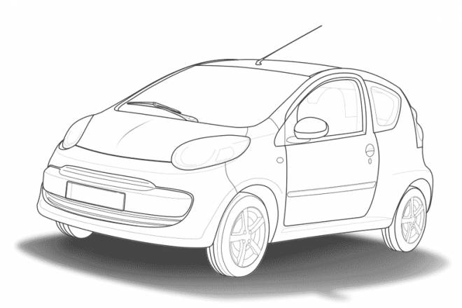 Free coloring and drawings Car Tuning Vector Coloring page