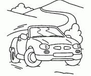 Free coloring and drawings Convertible car on the road Coloring page