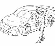 Free coloring and drawings Driver in front of racing car Coloring page