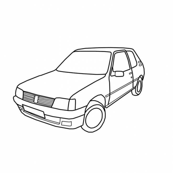 Free coloring and drawings Peugeot 205 car Coloring page