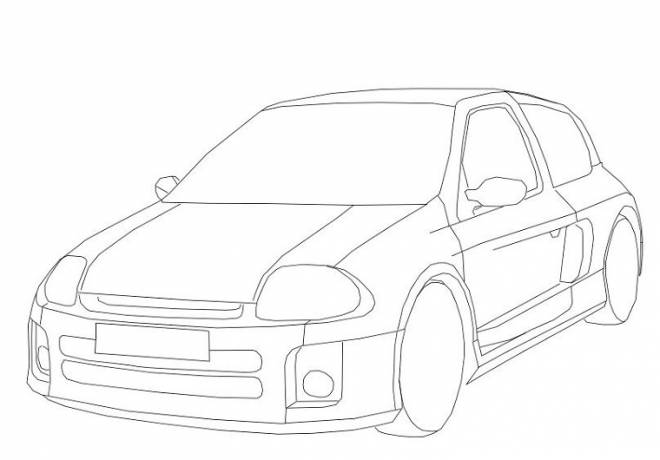 Free coloring and drawings Stylized Tuning Car Coloring page