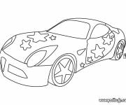 Coloring pages Tuning car in black and white