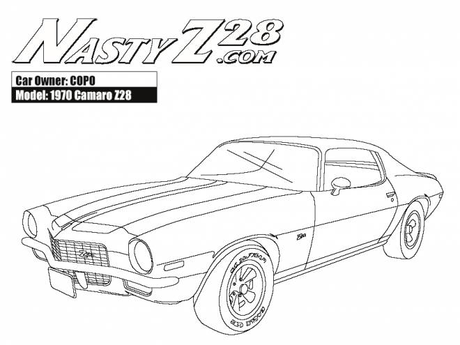 Free coloring and drawings Camaro model Z28 1970 Coloring page