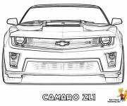 Free coloring and drawings Camaro Zl1 front view Coloring page