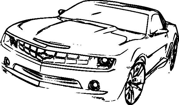 Free coloring and drawings Chevrolet Camaro on computer Coloring page