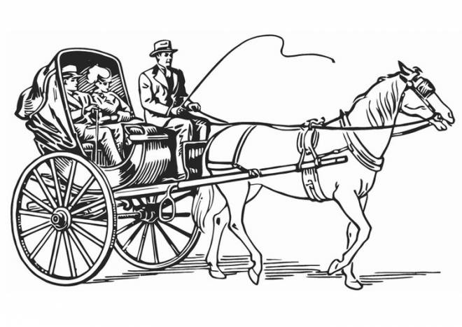 Free coloring and drawings A horse carriage Coloring page