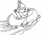 Coloring pages Children's Canoe