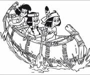 Coloring pages Indian Girls on the Canoe