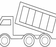 Free coloring and drawings Easy trailer truck Coloring page