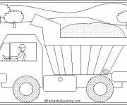 Free coloring and drawings Stylized Tipper Truck Coloring page