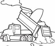 Coloring pages Tipper truck in vector