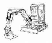 Free coloring and drawings Backhoe in the construction site Coloring page