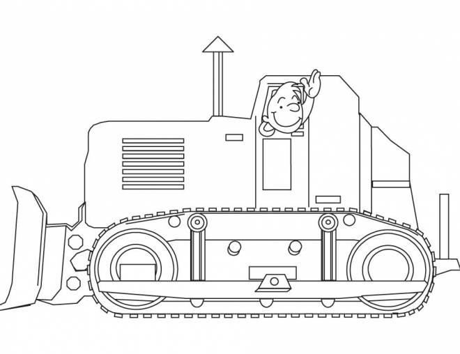 Free coloring and drawings Bulldozer driver greets you Coloring page