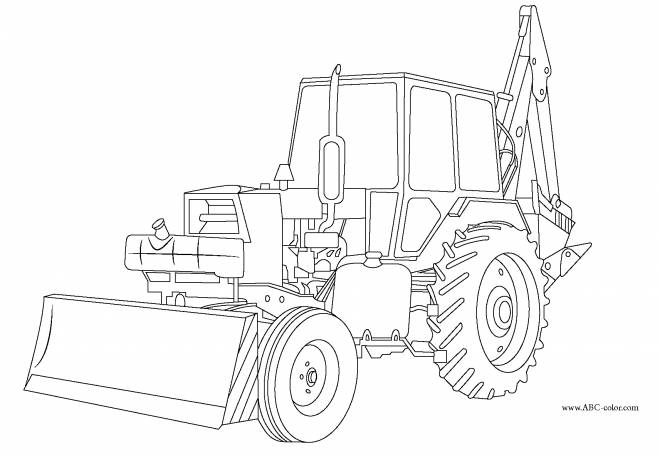Free coloring and drawings Construction backhoe loader Coloring page