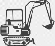 Free coloring and drawings Easy backhoe Coloring page