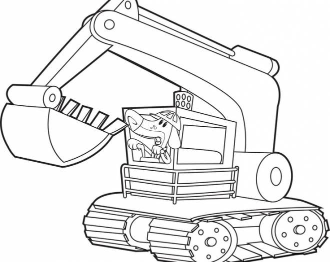 Free coloring and drawings Funny mechanical shovel Coloring page