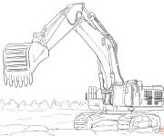 Free coloring and drawings Mechanical excavator and construction site Coloring page