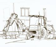 Coloring pages Mechanical excavator and works