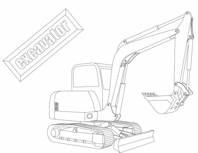 Free coloring and drawings Mechanical excavator for excavation Coloring page