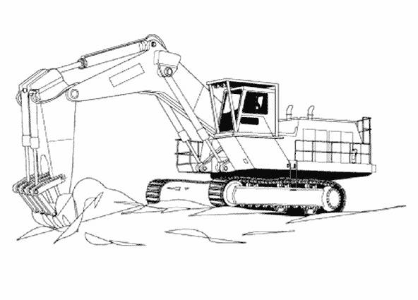 Free coloring and drawings Mechanical excavator in a construction site Coloring page