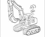 Coloring pages Mechanical excavator in action
