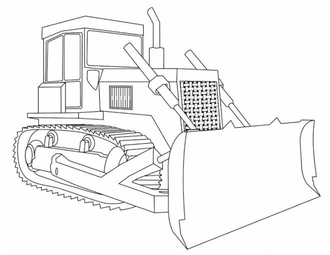 Free coloring and drawings Mechanical shovel in black and white Coloring page