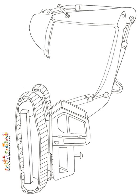 Free coloring and drawings Mechanical shovel in pencil Coloring page