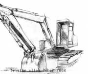 Free coloring and drawings Stylized mechanical shovel Coloring page