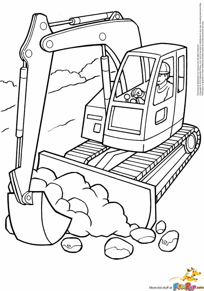 Free coloring and drawings Tracked tractor and works Coloring page