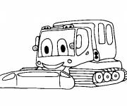 Free coloring and drawings Very happy mechanical shovel Coloring page