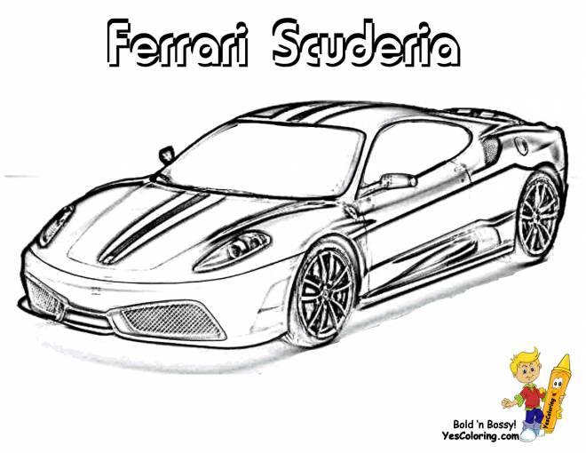 Free coloring and drawings Car Ferrari Scuderia Coloring page