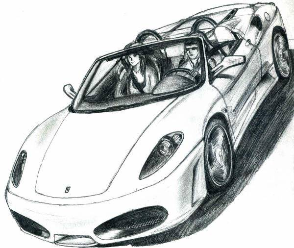 Free coloring and drawings Designed convertible ferrari Coloring page