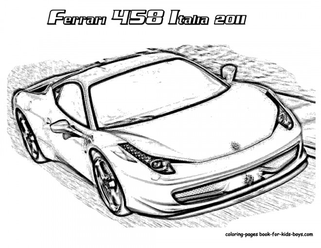 Free coloring and drawings Ferrari 458 2011 Coloring page
