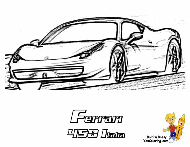 Free coloring and drawings Ferrari 458 Italy Coloring page