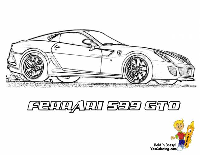 Free coloring and drawings Ferrari 599 GTO on the road Coloring page