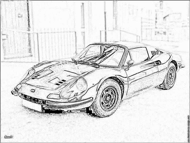Free coloring and drawings Ferrari coupe image Coloring page