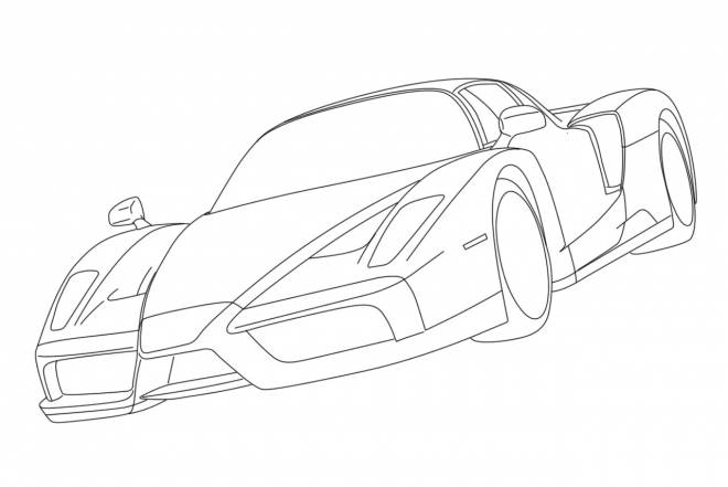 Free coloring and drawings Ferrari Enzo black Coloring page