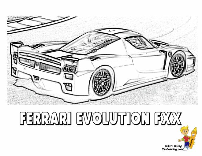 Free coloring and drawings Ferrari Evolution FXX for race Coloring page