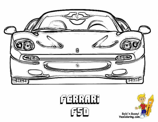 Free coloring and drawings Ferrari F50 front view Coloring page