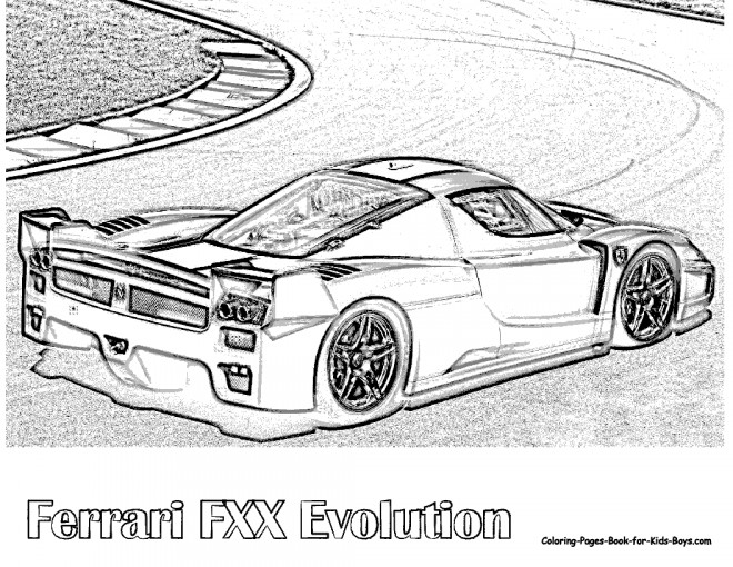 Free coloring and drawings Ferrari Fxx de course Coloring page