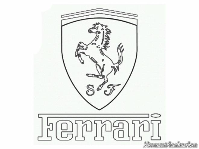 Free coloring and drawings Ferrari logo to download Coloring page