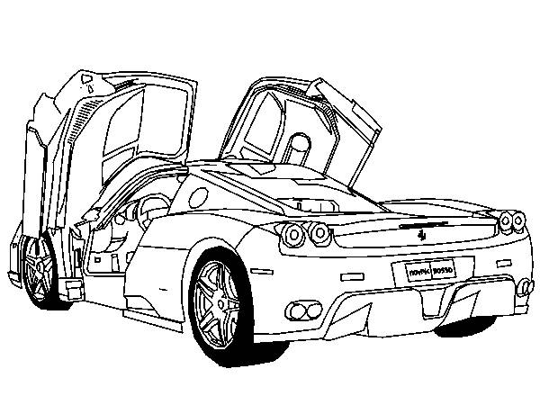 Free coloring and drawings Ferrari model F430 open doors Coloring page