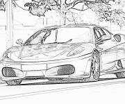 Coloring pages Ferrari on the road