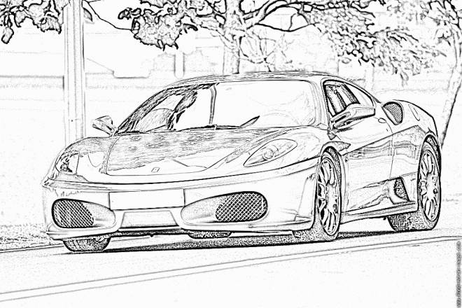 Free coloring and drawings Ferrari on the road Coloring page