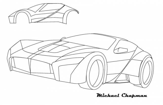 Free coloring and drawings Ferrari revolutionary model Coloring page
