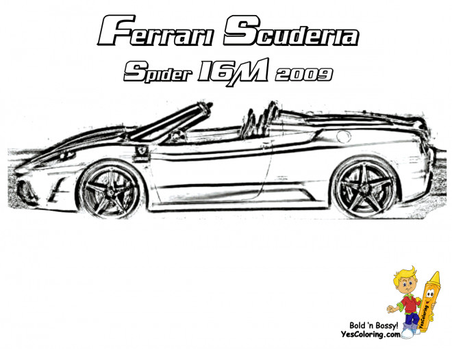 Free coloring and drawings Ferrari Scuderia Spider 16M Coloring page